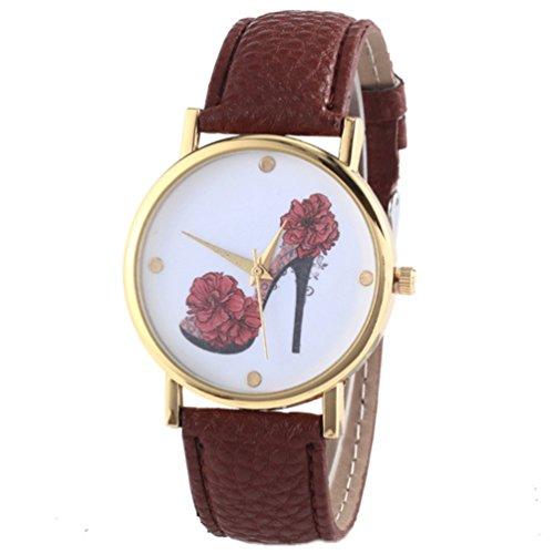 HITOP Vintage Retro Schuhe mit hohen Absaetzen Blumen Armbanduhr Basel Stil Leather Quarz Lederarmband Uhr Damen braun