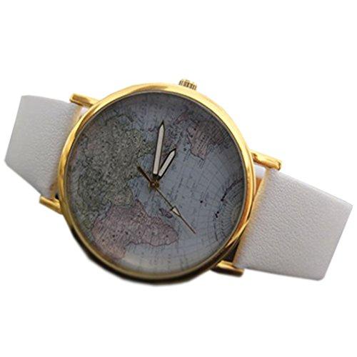 HITOP Damen Vintage Rose Blume Karte Armbanduhr Basel Stil Quarz Uhr Armbanduhren Geschenk Weiss