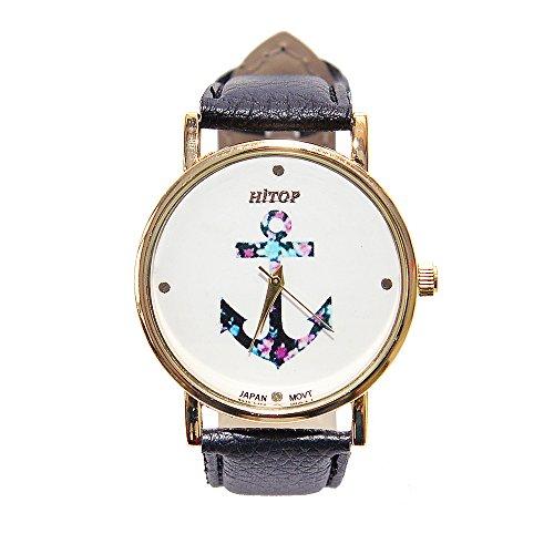 HITOP Damen Vintage Retro Blume Armbanduhr Basel Stil Rhinestones Fancy Anker Lederarmband Analoge Quarz Uhr Top Watch Schwarz02