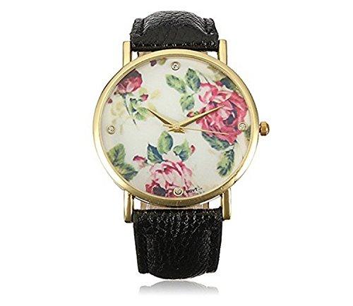HITOP Vintage Retro Blume Damen Rose Flower Armbanduhr Basel Stil Rhinestones Leather Quarz uhr Lederarmband Uhr Top Watch schwarz