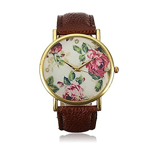HITOP Vintage Retro Blume Damen Rose Flower Armbanduhr Basel Stil Rhinestones Leather Quarz uhr Lederarmband Uhr Top Watch braun