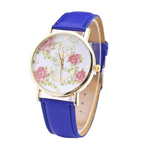 HITOP Retro Anker Rose Blume Leather Quarz Uhr Armbanduhren Geschenk Blau