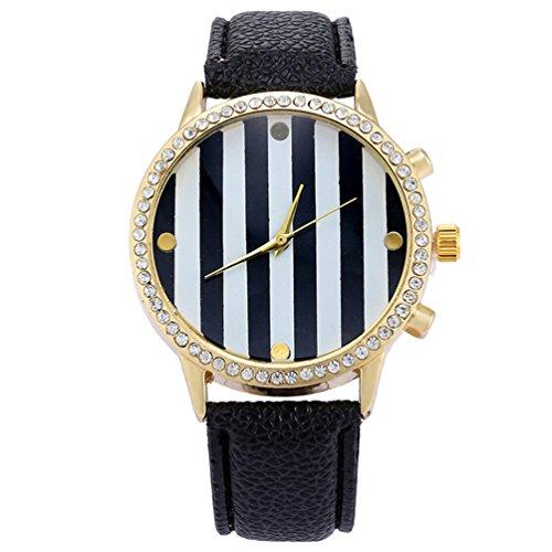 HITOP Damen Retro Mode Punk Basel Stil Schwarz Streifen Strass Glitzer Armbanduhr Quarz Uhren