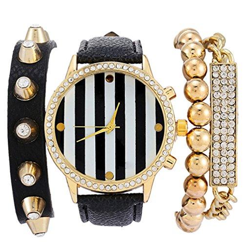 HITOP Damen Retro Mode Punk Basel Stil Schwarz Streifen Strass Glitzer Armbanduhr Quarz Uhren Set mit Uhr und drei Armbaendern