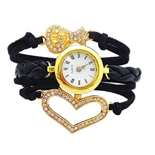 HITOP Punk Damen Einzigartige Gothic Schwarz Gold Herz Wrap Leder Armband Quarz Uhren Geschenk
