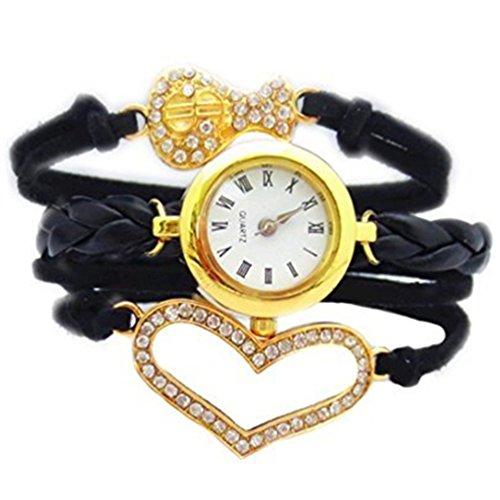 HITOP Fashion Vintage Cool Charms Damen Leder Bronze Damen Einzigartige Gothic Unendliche Schwarz Gold durchbohrt Herz Portemonnaie Wrap Leder Armband Quarz Uhren