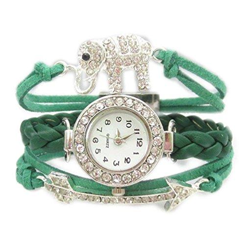 HITOP Fashion Vintage Cool Charms Damen Leder Einzigartige Gothic Unendliche love Quer Sterne Unendliche Elefanten Schmetterling arrow Strass Leder Armband Quarz Uhren Eine Vielzahl von Arten