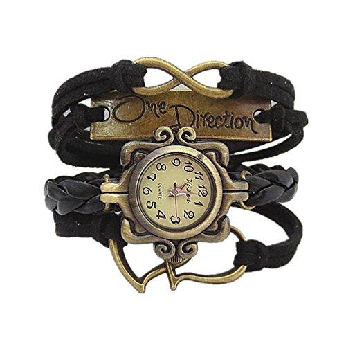HITOP Fashion Vintage Cool Charms Damen Leder Bronze Damen Einzigartige Gothic Unendliche eine Richtung EINE RICHTUNG Hohl Doppel Herz Wrap Leder Armband Quarz Uhren