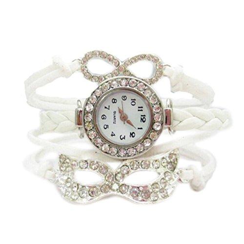 HITOP Fashion Vintage Cool Charms Damen Leder Einzigartige Gothic Unendliche Unendlichelove Strass Maske Leder Armband Quarz Uhren Eine Vielzahl von Arten