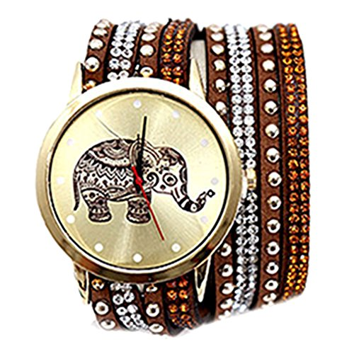 HITOP Damen Ethnischen Stil Weben Elefant Diamant Multilayer Armbaender Armbanduhr Leather Quarz Lederarmband Uhr Braun