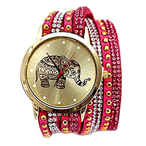 HITOP Damen Ethnischen Stil Weben Elefant Diamant Multilayer Armbaender Armbanduhr Leather Quarz Lederarmband Uhr Rose Rot