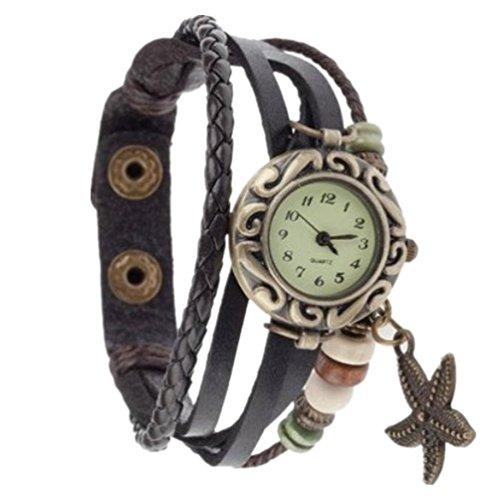 HITOP Fashion Vintage Cool Charms Damen Leder Bronze Damen Einzigartige Gothic Mehrschicht Seestern Perlen Punk Stil Weave Wrap Leder Armband Quarz Uhren schwarz