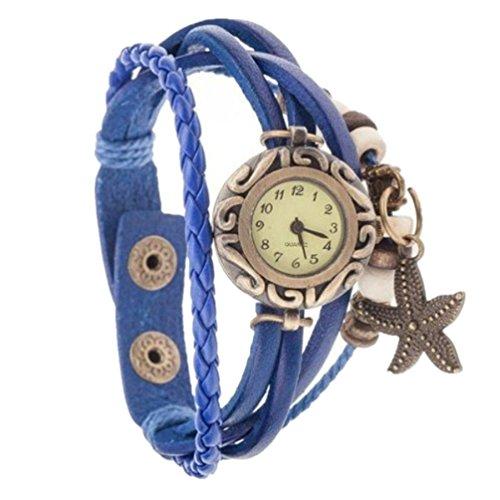 HITOP Fashion Vintage Cool Charms Damen Leder Bronze Damen Einzigartige Gothic Mehrschicht Seestern Perlen Punk Stil Weave Wrap Leder Armband Quarz Uhren blau