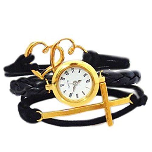 HITOP Fashion Vintage Cool Charms Damen Leder Bronze Damen Einzigartige Gothic Unendliche Schwarz Gold durchbohrt Herz Quer Wrap Leder Armband Quarz Uhren