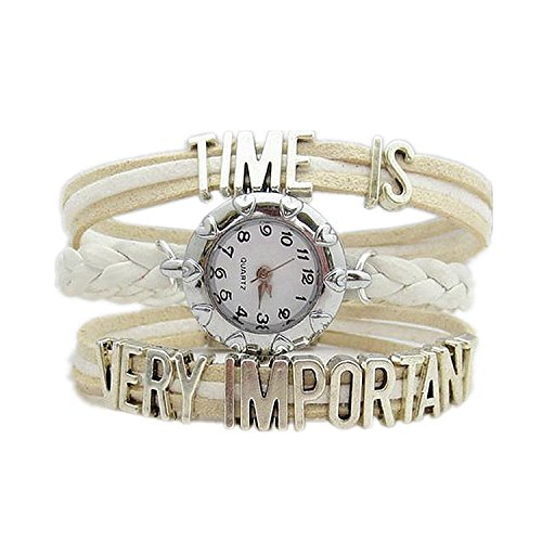 HITOP Fashion Vintage Cool Charms Damen Leder Bronze Damen Einzigartige Gothic Unendliche time is very important Wrap Leder Armband Quarz Uhren