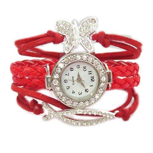 HITOP Fashion Vintage Cool Charms Damen Leder Einzigartige Gothic Unendliche love Quer Sterne Unendliche Schmetterling Strass Leder Armband Quarz Uhren Eine Vielzahl von Arten