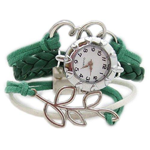 HITOP Fashion Vintage Cool Charms Damen Leder Bronze Damen Einzigartige Gothic Unendlichedurchbohrt Herz Blaettern Wrap Leder Armband Quarz Uhren
