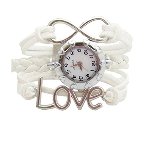 HITOP Fashion Vintage Cool Charms Damen Leder Bronze Damen Einzigartige Gothic Mehrschicht love liebe Herz Weave Wrap Leder Armband Quarz Uhren
