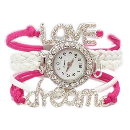 HITOP Fashion Vintage Cool Charms Damen Leder Einzigartige Gothic Unendliche Unendliche love dream liebe Traum Strass Leder Armband Quarz Uhren Eine Vielzahl von Arten