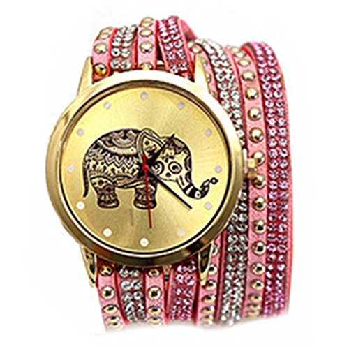 HITOP Vintage Retro weben Elefant Diamant Multilayer Armbaender Damen Armbanduhr Basel Stil Leather Quarz Lederarmband Uhr Top Watch pink