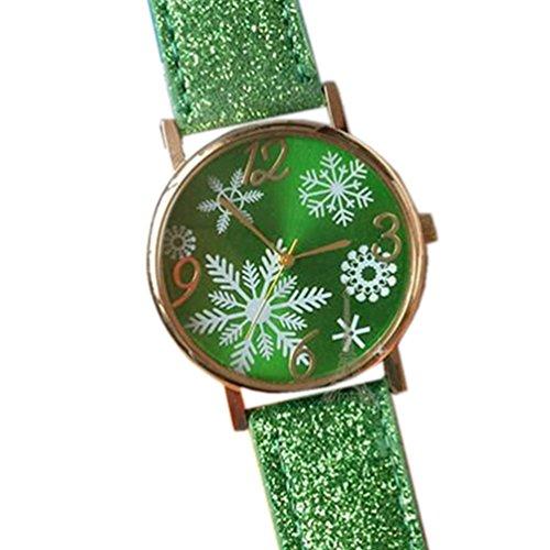 HITOP Damen brillant Paillette Cortical Snowflake Muster Armbanduhr Leather Quarz Gesteppte Lederarmband Uhr Gruen