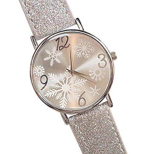HITOP Damen brillant Paillette Cortical Snowflake Muster Armbanduhr Leather Quarz Gesteppte Lederarmband Uhr Silber
