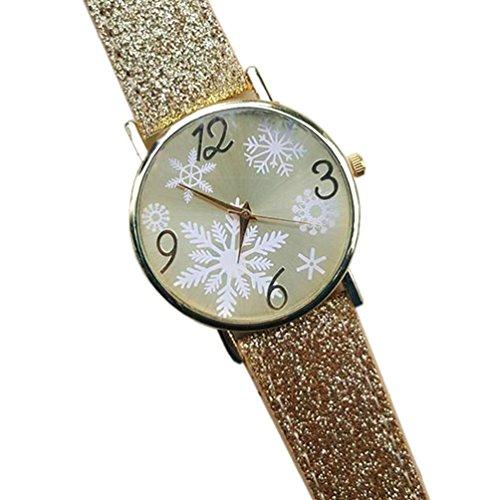 HITOP Damen brillant Paillette Cortical Snowflake Muster Armbanduhr Leather Quarz Gesteppte Lederarmband Uhr Gold
