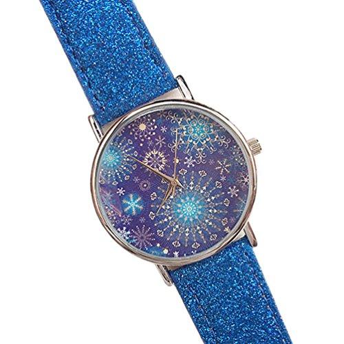 HITOP Damen brillant Paillette Cortical Snowflake Muster Armbanduhr Leather Quarz Gesteppte Lederarmband Uhr Blau