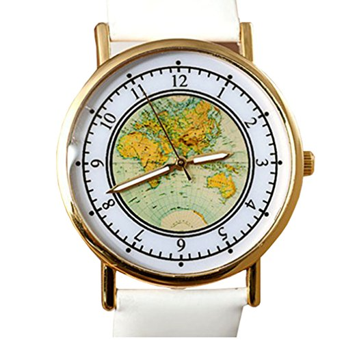 HITOP Damen Retro Karte Quartz Leder Uhr Armreif Uhren Armbanduhren Geschenk Weiss