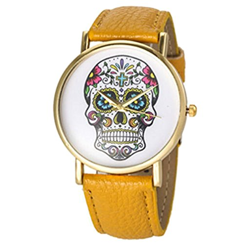 HITOP Retro stil Schaedel Damen Leather Quarz Lederarmband Uhr Armbanduhren Geschenk Gelb