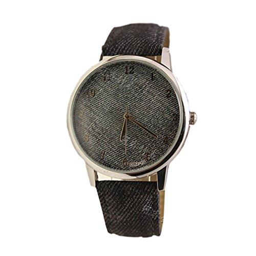 HITOP Vintage Retro Blume Basel Stil Rhinestones geometrischen Denim Stoff Quarz uhr Lederarmband Uhr Top Watch grau