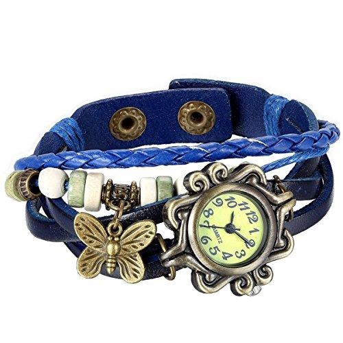 HITOP Damen Retro Schmetterling Quartz Strick Leder Uhr Armreif 7 farben navy