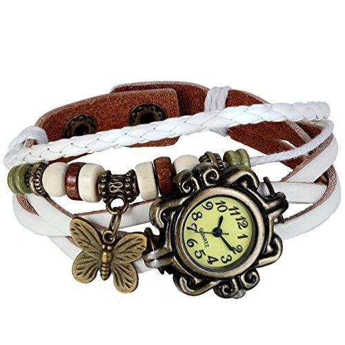 HITOP Damen Retro weiss Schmetterlings Anhaenger Armbanduhr Quartz Strick Leder Uhr Armreif