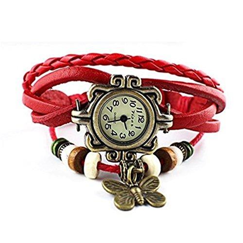 HITOP Damen Retro Rot Schmetterlings Anhaenger Armbanduhr Quartz Strick Leder Uhr Armreif