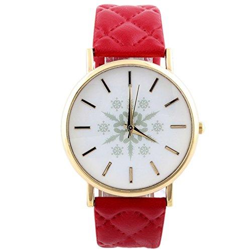 HITOP Vintage Retro Snowflake Muster Armbanduhr Basel Stil Leather Quarz Gesteppte Lederarmband Uhr Damen Rote
