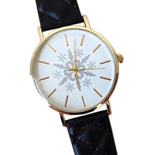 HITOP Vintage Retro Snowflake Muster Armbanduhr Basel Stil Leather Quarz Gesteppte Lederarmband Uhr Damen Schwarz