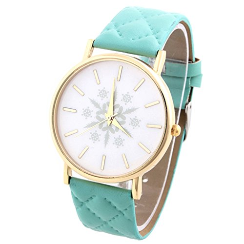 HITOP Vintage Retro Snowflake Muster Armbanduhr Basel Stil Leather Quarz Gesteppte Lederarmband Uhr Damen Minzgruen