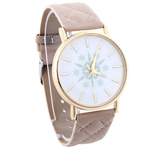 HITOP Vintage Retro Snowflake Muster Armbanduhr Basel Stil Leather Quarz Gesteppte Lederarmband Uhr Damen Beige