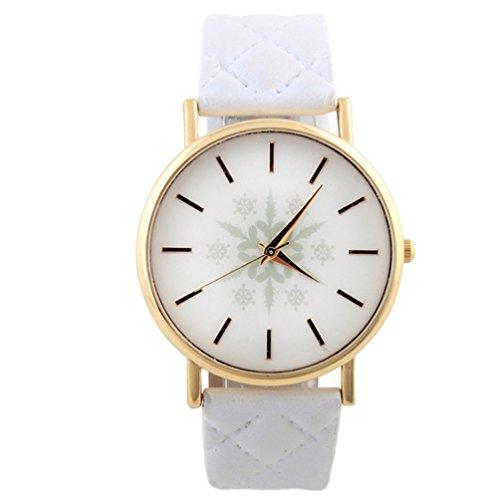 HITOP Vintage Retro Snowflake Muster Armbanduhr Basel Stil Leather Quarz Gesteppte Lederarmband Uhr Damen weiss