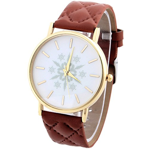 HITOP Vintage Retro Snowflake Muster Armbanduhr Basel Stil Leather Quarz Gesteppte Lederarmband Uhr Damen Braun