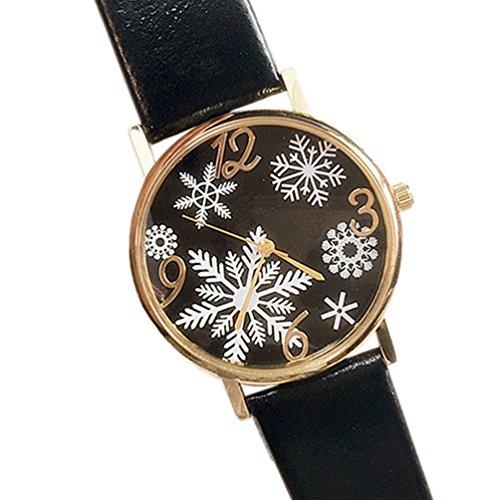 HITOP Damen Snowflake Muster Armbanduhr Leather Quarz Gesteppte Lederarmband Uhr Schwarz