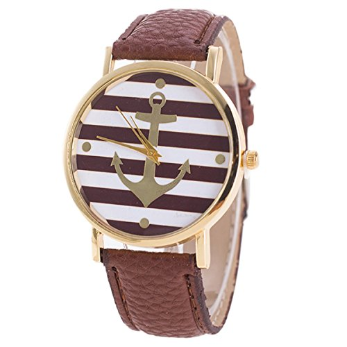 HITOP Vintage Retro Damen Anker Streifen Armbanduhr Basel Stil Lederarmband Quarz Uhr Top Watch Braun