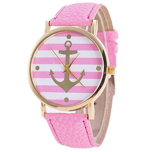 HITOP Vintage Retro Damen Anker Streifen Armbanduhr Basel Stil Lederarmband Quarz Uhr Top Watch Pink