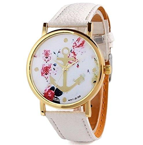 HITOP Vintage Retro Blume Damen Armbanduhr Basel Stil Anker Blumen Leder Quarz Uhr Lederarmband Top Uhr Weiss