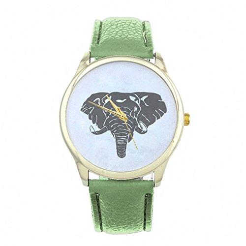 HITOP Vintage Retro Elefant Basel Stil Leather Quarz Lederarmband Uhr Top Watch gruen