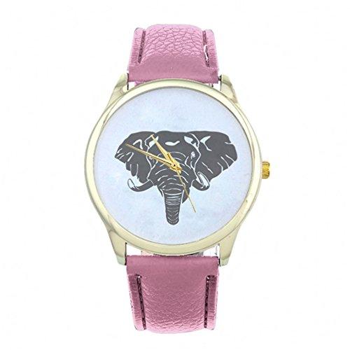 HITOP Vintage Retro Elefant Basel Stil Leather Quarz Lederarmband Uhr Top Watch Pink