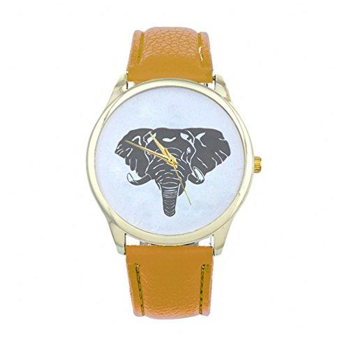 HITOP Vintage Retro Elefant Basel Stil Leather Quarz Lederarmband Uhr Top Watch Gelb