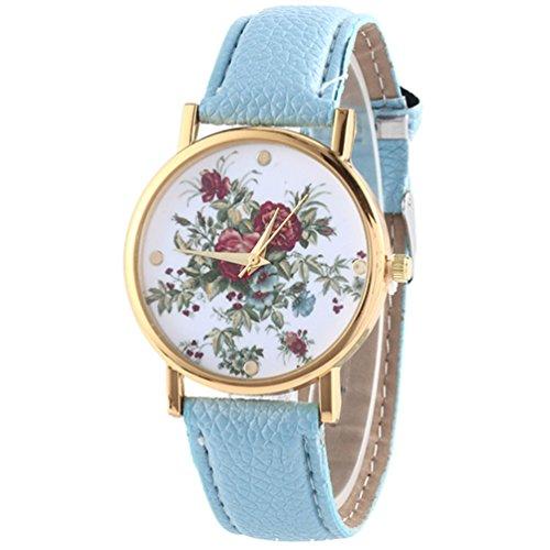 HITOP Damen Retro Vintage Kamelie Muster Armbanduhr Leather Quarz Lederarmband Uhr Hellblau
