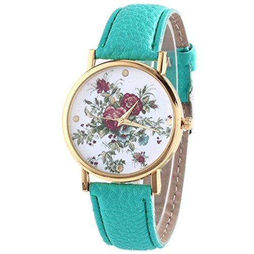 HITOP Damen Retro Vintage Kamelie Muster Armbanduhr Leather Quarz Lederarmband Uhr Minzgruen
