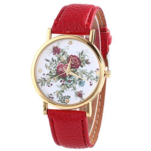 HITOP Damen Retro Vintage Kamelie Muster Armbanduhr Leather Quarz Lederarmband Uhr rote